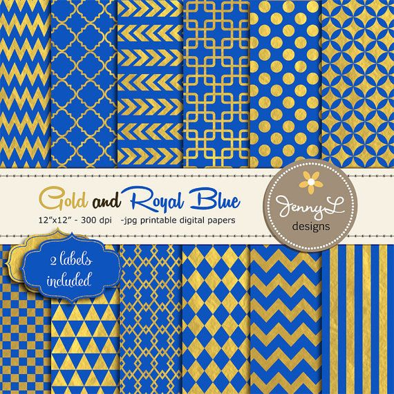 Royal Blue and Gold Digital Papers Geometric by JennyLDesignsShop