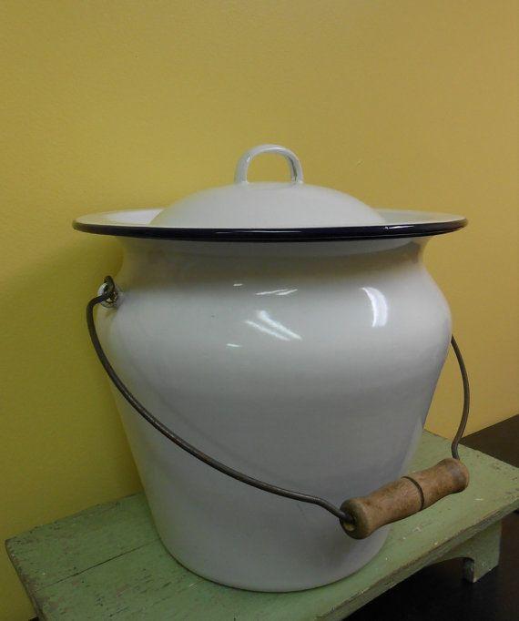 Vintage Enamelware Bucket with Lid / White by TheWellSeasonedNest, $37.00