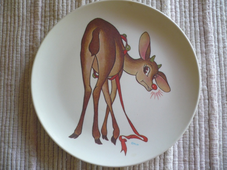 rudolph the red-nosed reindeer plates & 34 best Reindeer Dinnerware images on Pinterest | Christmas dishes ...