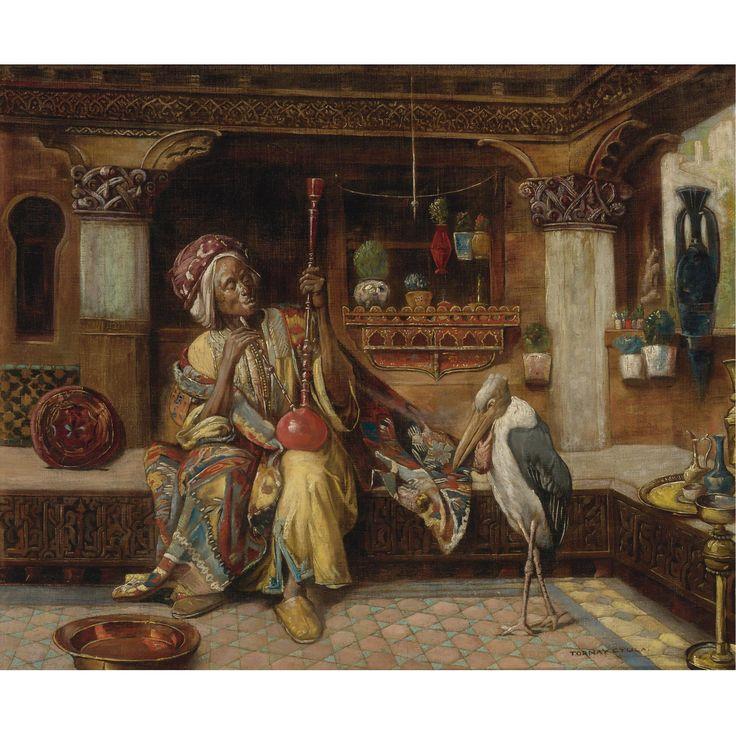 Gyula Tornai HUNGARIAN SMOKER WITH HOOKAH AND MARABOU