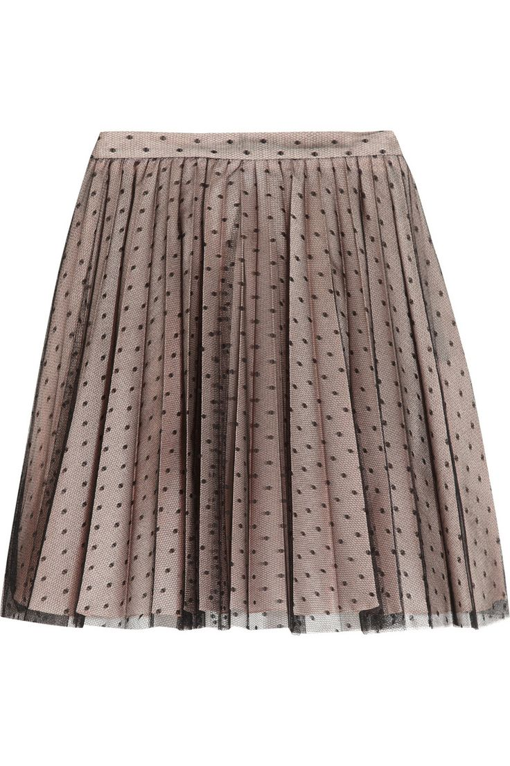 Redvalentino Woman Pleated Metallic Embellished Tulle Mini Skirt Gray Size 42 Red Valentino 4UdcSg3gG