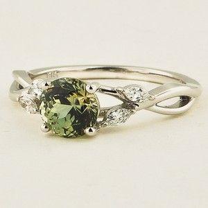 18K White Gold Sapphire Willow Diamond Ring - Set with a 6.0mm Round Light Green Sri Lankan Sapphire #BrilliantEarth