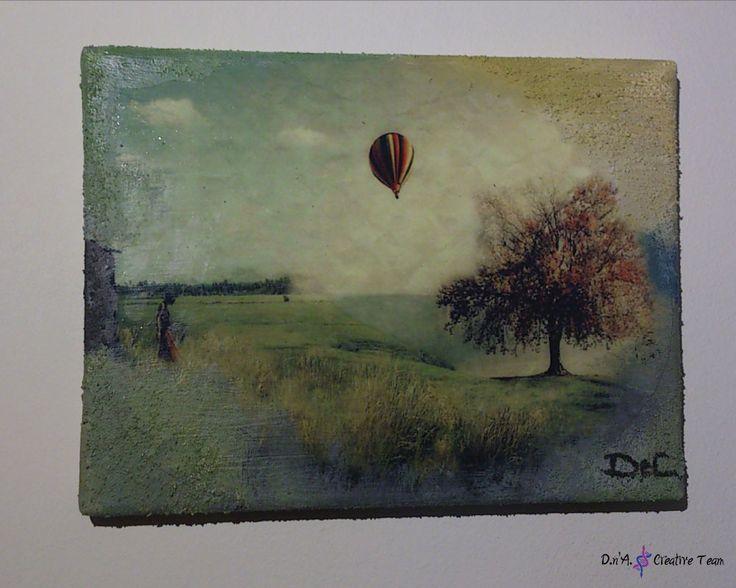 -VALLEY   -Decoupage technique on canvas/ photo print/ modeling paste/ acrylic paint  -Measures: 24x18 cm    https://www.etsy.com/listing/213123834/air-baloon-decoupage-canvas-valley?ref=shop_home_active_11