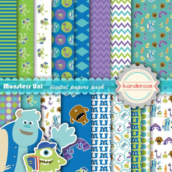 Monsters University digital papers, cliparts, Disney, Mikey, Sulley, Monster Inc disney paper, digital images, printables, patterns [SC-013]