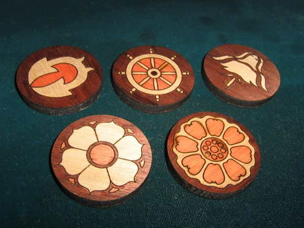 Handmade Pai Sho tiles from the show Avatar: The Last Airbender