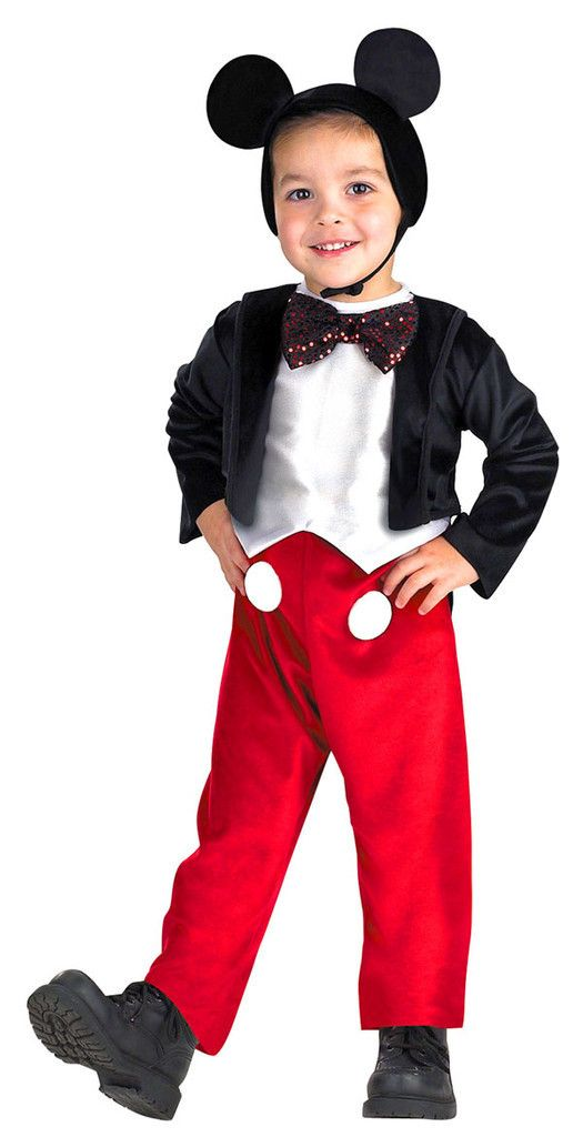 Description #5027 He'll join the Disney Gang as Micky Mouse this Halloween. The Mickey Mouse Deluxe Costume includes a jumpsuit with red pants and attached black jacket. An attached sequin bow tie and