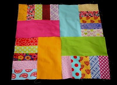 """The Q and the U - Quilting Blog: Easy Scrappy Strips and Bricks Block Tutorial - uses 2.5"""" strips (and bigger stuff, too).  LOVE IT.  I really like the layout examples she gives.  THANK YOU!"""