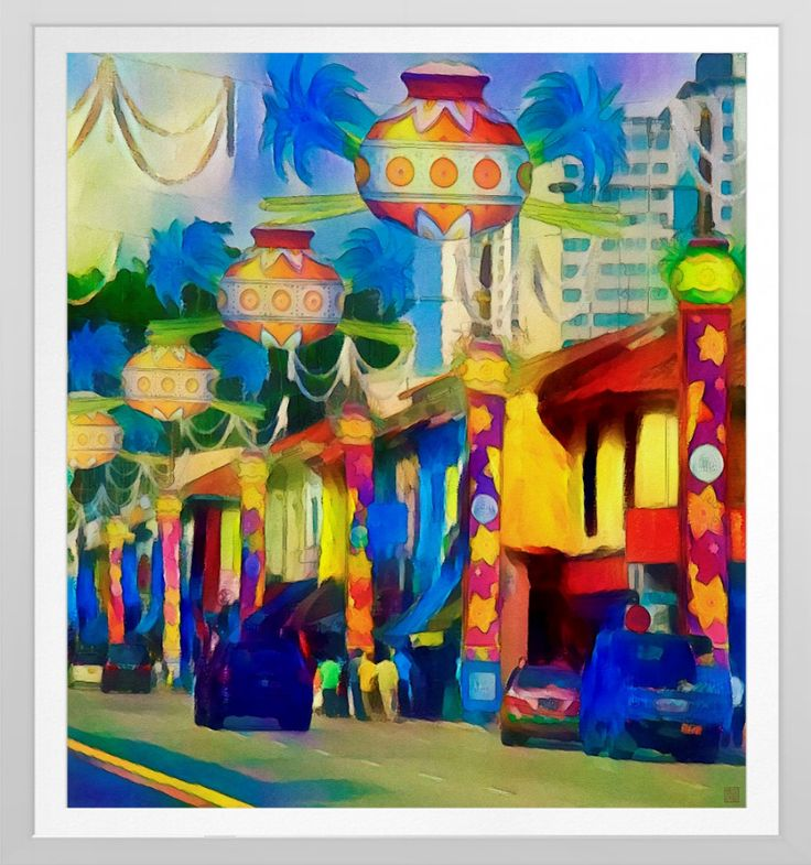 'Singapore Festival Watercolour' - Art Print. Original Singapore watercolour art by Roger Smith. Reproduced on Archival Heavyweight Paper. https://www.zazzle.com/singapore_festival_watercolour_art_print-228474394635880252 #Singapore #art #print #RogerSmith