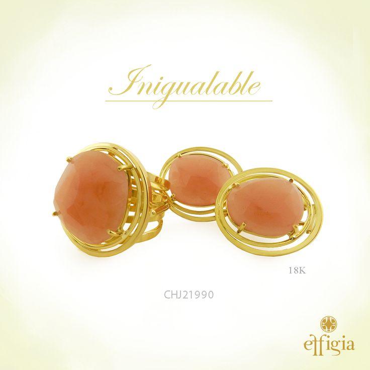 Effigia presenta este precioso juego de oro amarillo de 18 k con cuarzo rosa. ¡Brilla siempre con Effigia! #JoyasHechasAMano #Oro