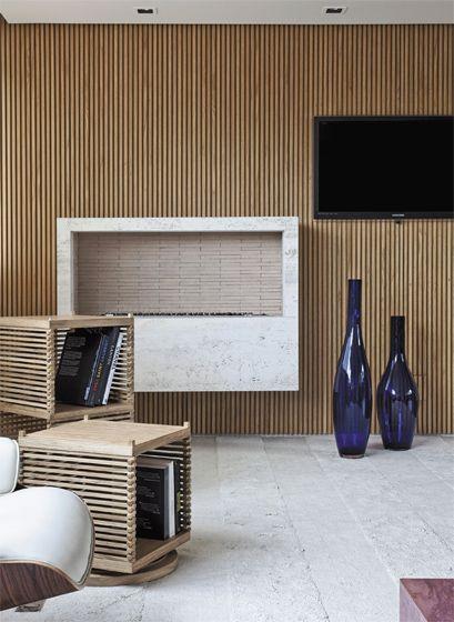 Apartamento Jardins III / Carolina Rocco #fireplace #detail #carvalhoamericano…