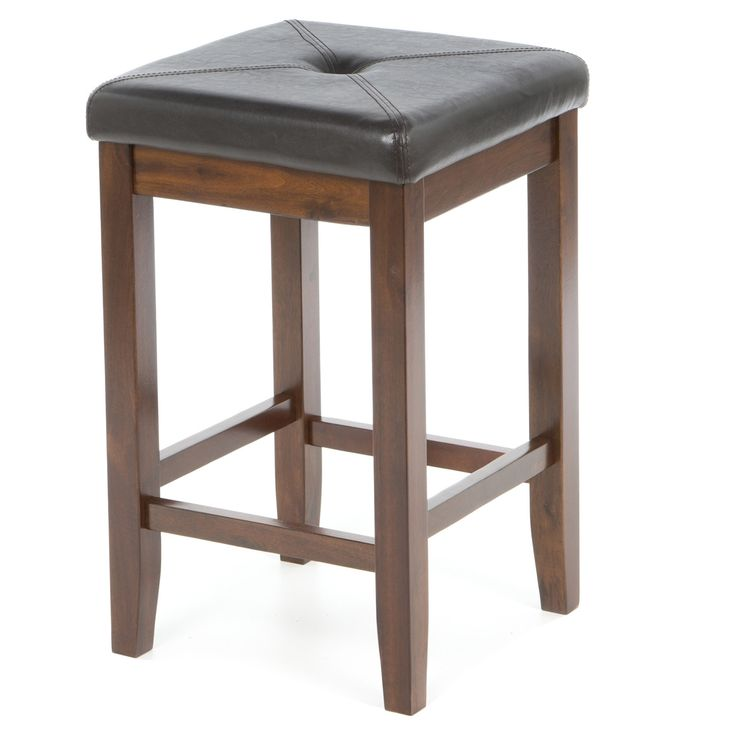 Set of 2 - 24-inch Bar Stools in Vintage Mahogany & Faux Leather Seat