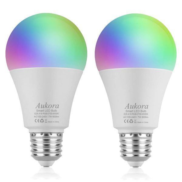 Smart Wifi Light Bulb Aukora Led Light Bulb Compatible With Amazon Alexa Google Home Ifttt No Hub Required E26 E27 60w Equivalent 7w Color Changing Dimmab Smart Light Bulbs Led Light Bulb Led