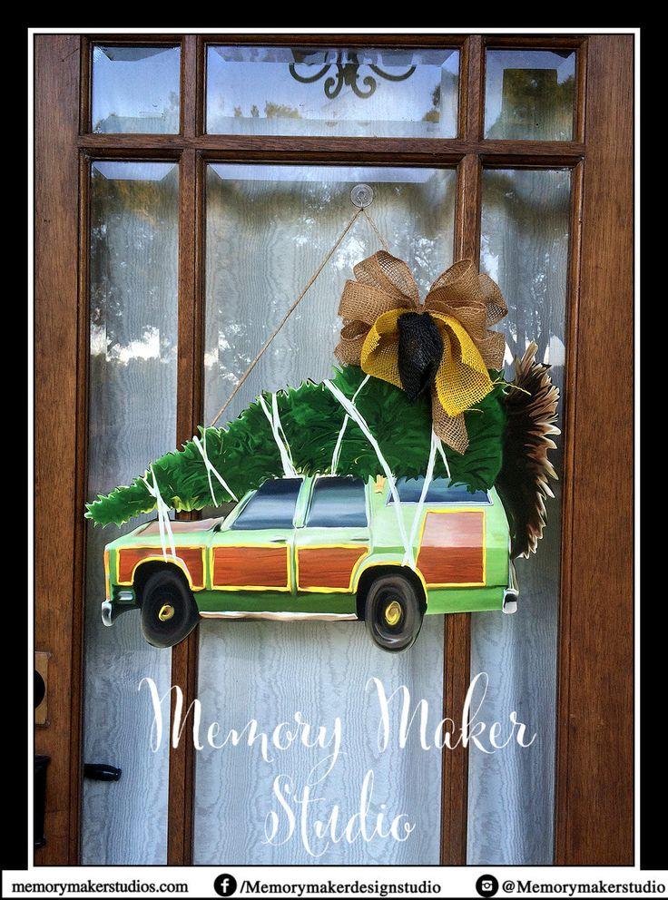 Christmas Door Hanger, Station Wagon Door Hanger, Christmas Vacation Door Hanger, Griswold Family Christmas Tree, Christmas Tree Door Hanger by MemoryMakerStudio on Etsy