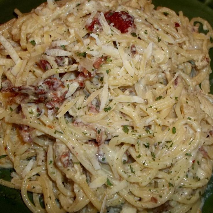 Spaghetti Carbonara  I always double the recipe, as the family loves the leftovers. Chicken could be added to this dish also...  Enjoy!...my photos