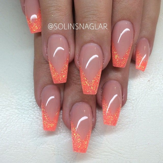 Orange glitter French coffin nails