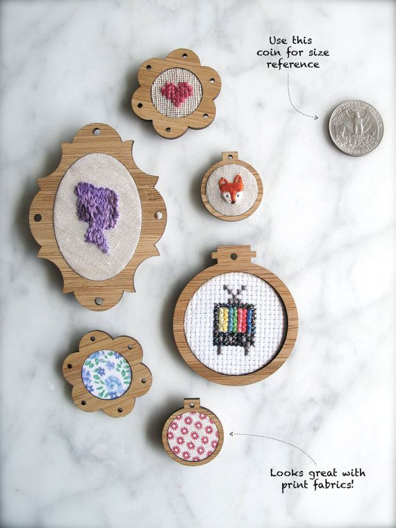 Miniature embroidery hoop frames - Sampler set of 6 x classic frames <--so. pretty.
