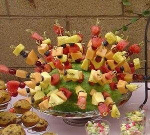 Fruit kabobs stuck in a watermelon - Click image to find more hot Pinterest pins