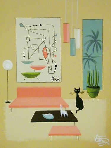 El Gato Gomez Painting Mid Century Modern Retro Interior Design Atomic Ranch Cat   eBay