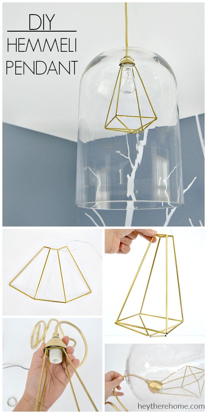 AMAZING! Modern geometric pendant light made from a hurricane and hemmeli art! Full tutorial at heytherehome.com