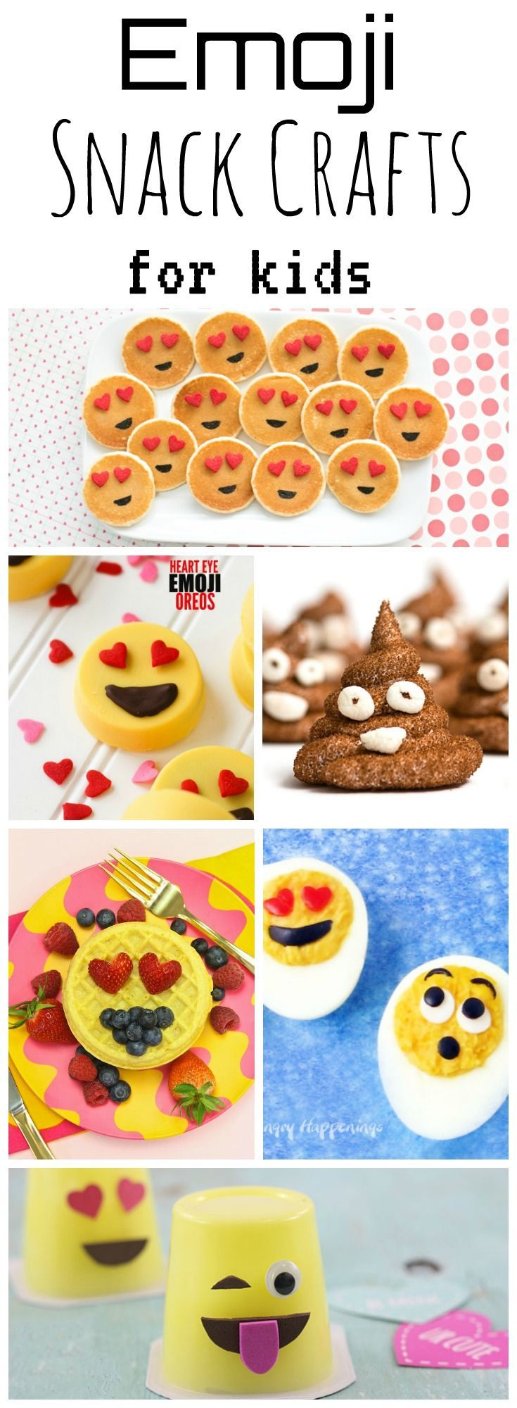 Emoji Snack Crafts for kids - a collection of the silliest and sweetest dishes featuring our favorite little icons - and just in time for The Emoji Movie coming to theaters this summer! Perfect for an emoji party!