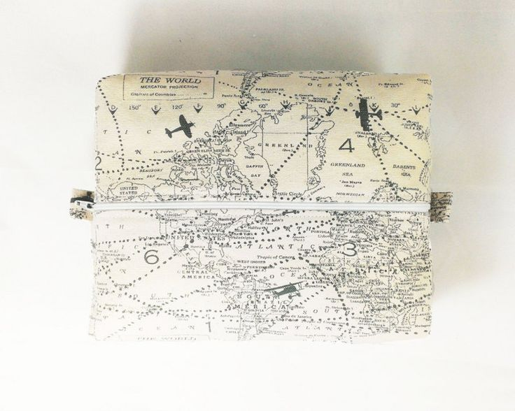 Airplane Map Toiletry Bag Makeup Travel Case by FireboltCreations