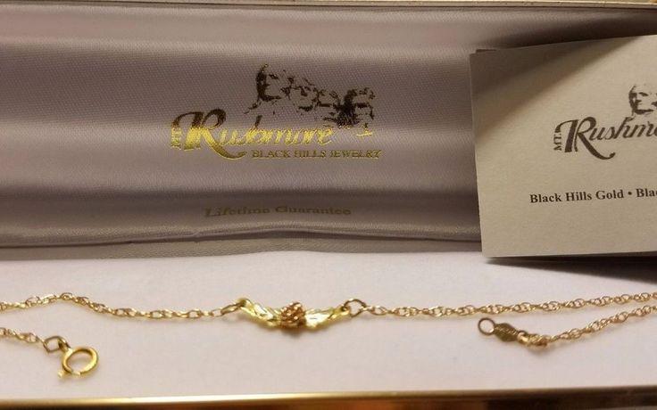 """Black Hills 1/20TH 14K Gold Anklet Bracelet w/10K Gold Rose w/Leaf, 10.25"""" #BlackHillsGold"""