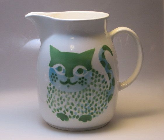 Really nice vintage large mid century mod Arabia Finland Kaj Frank vintage blue green KL-3 8 inch kitty cat pitcher jug