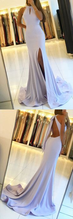 Backless Mermaid Long Prom Dresses with Side Slit,Simple Party Dresses,MB 409