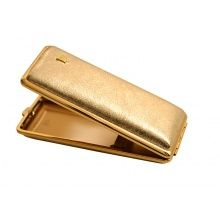 Cigarette case VH 904164 for 8 slim, polished leather, metal, golden, 11.8x4.8x1.9 cm