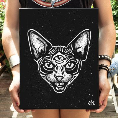 Sphynx Cat illustration on canvas