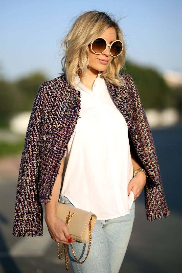 Tweed jacket : Veronica Virta Top : Rag&Bone Denim : Stella McCartney Bag : Saint Laurent Sunnies : Chloé
