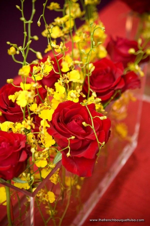 Red Roses & Yellow Oncidium- Centerpiece Detail