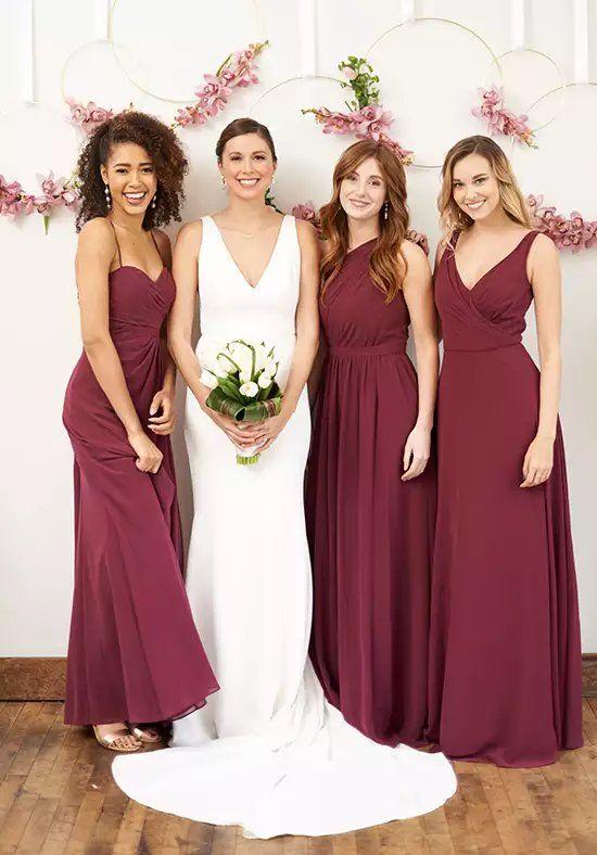 adbdb3a14cc Brideside Rachel in Berry V-Neck Bridesmaid Dress