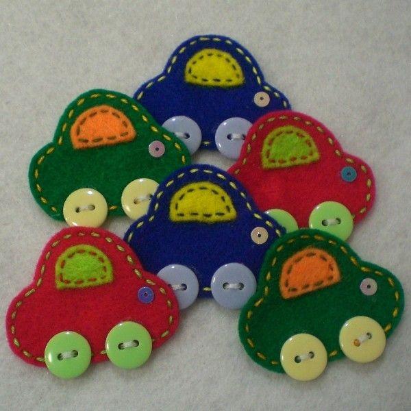 Handmade Cars Felt Applique (Main Colors). $4.54, via Etsy.