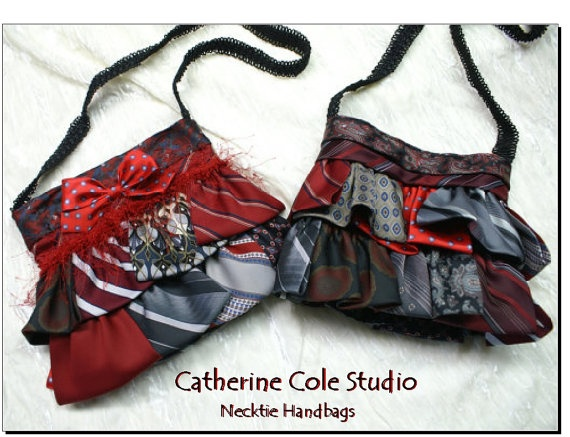 Upcycled necktie handbags...  Great reuse of a bad Fathers Day Gift  $29.00 Catherine Cole Studio