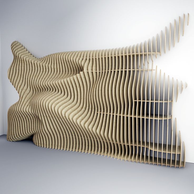 Parametric wall is in the form of the wave. Decoration of the interior of the bar. The material used birch plywood 15 mm