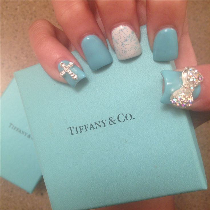 Tiffany blue 3d nail art bow cross flared nails