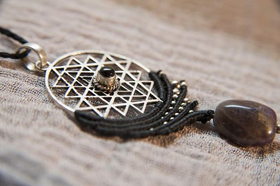 Hey, I found this really awesome Etsy listing at https://www.etsy.com/listing/577478613/yantra-macrame-necklace-with-amethyst