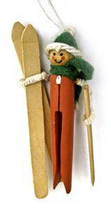 Skier Clothespin Ornament