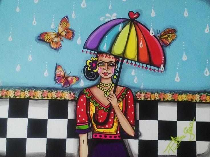 Kahlo in the rain