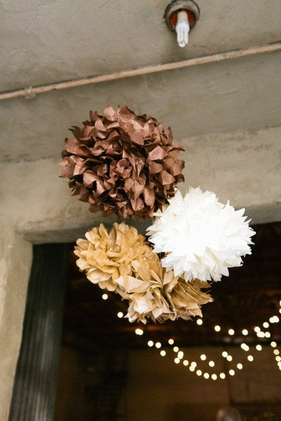 Brown paper pom pom wedding decorations