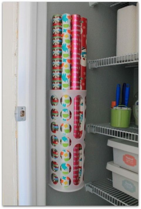 Garage/Cleaning Closet/ Basement/Hall closet for wrapping paper organization, and plastic grocery sacks