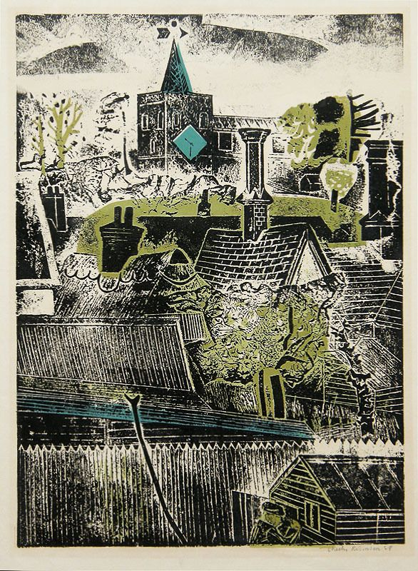 Untitled (townscape) by Sheila Robinson cardboard cut-out relief print.