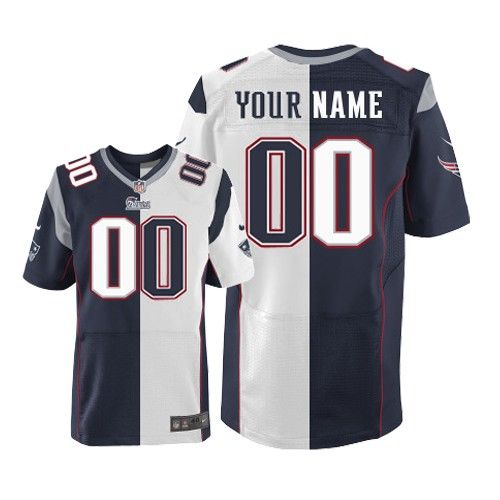 mens nike new england patriots customized elite team road two tone nfl jersey