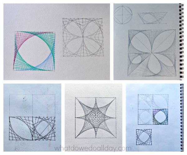 Parabolic line designs in math art project for kids.