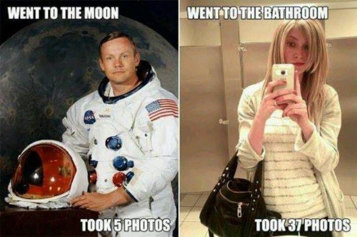 Fuuny ladies in bathroom are crazy for selfie