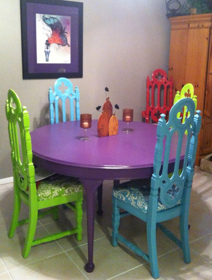 Found the gothic church chairs and table at a garage sales, $30 = 6 chairs, $25 = table. Matched paint to fabric. Cleaned, primed, painted, polyurethane. Chairs: bunting, neutral fabric, upholstery fabric,  screw on and done! In the end I spent about $200 give or take. Katie Diehl.