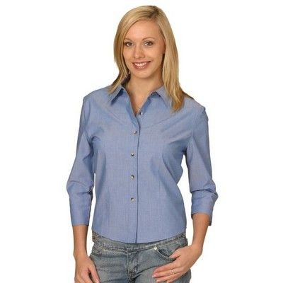 Wrinkle Free Ladies Chambray ¾ Sleeve Business Shirt Min 25 - Clothing - Business Shirts - Her Business Wear - WS-BS041 - Best Value Promotional items including Promotional Merchandise, Printed T shirts, Promotional Mugs, Promotional Clothing and Corporate Gifts from PROMOSXCHAGE - Melbourne, Sydney, Brisbane - Call 1800 PROMOS (776 667)