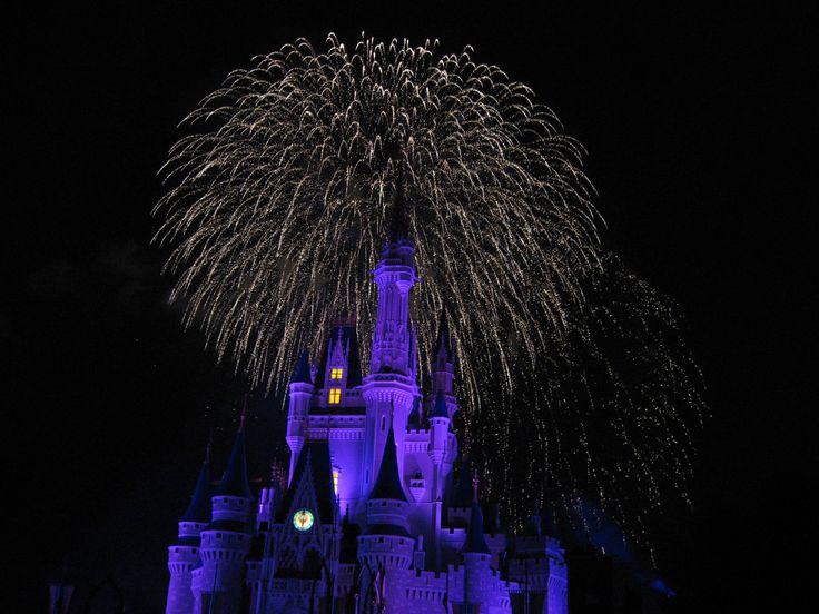 Spectacular fireworks over Cinderella Castle in the Magic Kingdom at Disney World, Florida