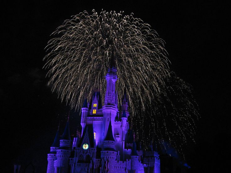 Spectacular fireworks over Cinderella Castle in the Magic Kingdom at Disney World, Florida
